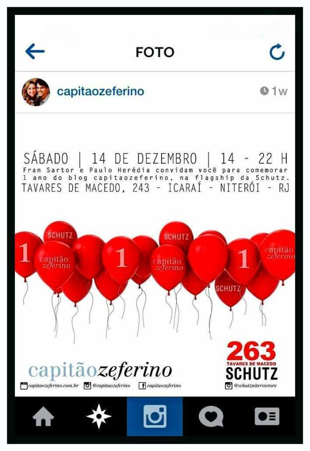 Convite #1anocapitaozeferino. *Fonte: Instagram @capitaozeferino